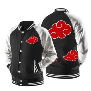 Naruto Akatsuki Red Clouds Baseball Varsity Jacket