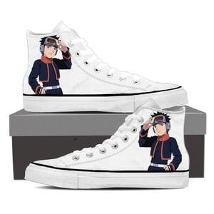 Naruto Anime Obito Uchiha Fan Art Print White Sneakers Shoes