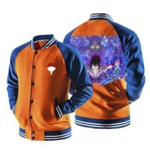 Naruto Anime Sasuke Mangekyo Susanoo Orange Baseball Jacket