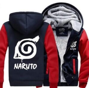 Naruto Cool Hidden Leaf Village Symbol Red Navy Hooded Jacket