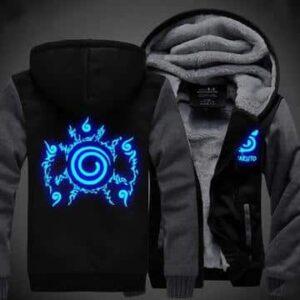 Naruto Cool Top Cursed Seal Blue Luminous Gray Black Hooded Jacket
