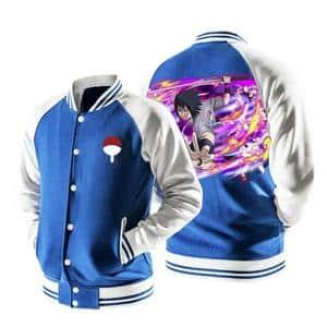 Naruto Cool Uchiha Sharingan Moon Tattoo Blue Baseball Jacket