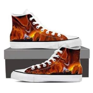 Naruto Kurama Fire Monster Fox Fan Art Orange Sneakers Shoes