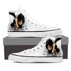 Naruto Sasuke Cursed Seal Sharingan White Sneakers Shoes