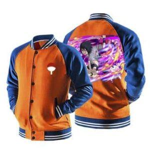 Naruto Sasuke Sharingan Moon Tattoo Orange Baseball Jacket