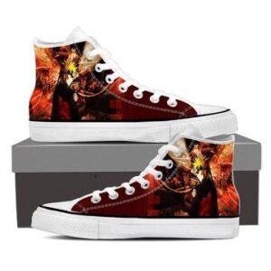 Naruto Shippuden Fan Art Fire Background Cool Sneakers Shoes