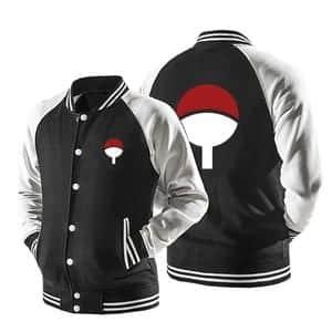 Naruto Uchiha Clan Logo Konohagakure Black Baseball Jacket