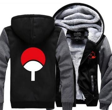 Naruto Uchiha Clan of Fire Release Symbol Gray Black Hooded Jacket