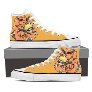Naruto Uzumaki and His Kyuubi Fox Cool Orange Sneakers Shoes