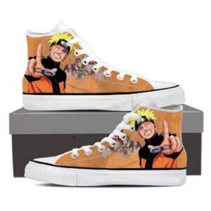 Naruto Uzumaki Anime Smiling Cute Cool Orange Sneakers Shoes