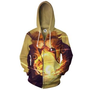 Naruto And Minato Paternal Bond Vibrant Design Zip Up Hoodie