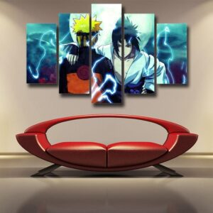 Naruto And Sasuke Awesome Fan Art 5pcs Wall Art Canvas Print