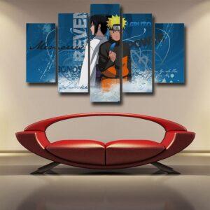 Naruto And Sasuke Two Sides Blue Amazing 5pcs Canvas Print