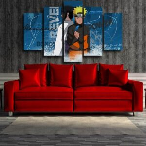 Naruto And Sasuke Two Sides Blue Amazing 5pcs Canvas Print