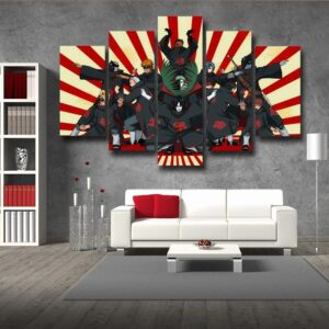 Naruto Anime Akatsuki Funny Group Pose Design 5pcs Canvas