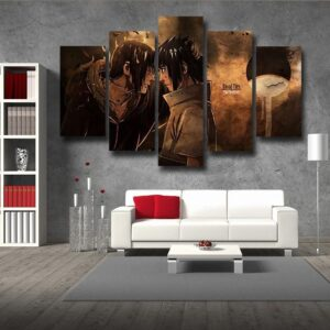 Naruto Anime Itachi And Sasuke Fight Brown 5pcs Canvas Print