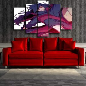 Naruto Anime Madara Uchiha Grin Fan Art White 5pcs Wall Art