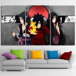 Naruto Anime Sasuke Itachi Madara Uchiha Clan 3pcs Wall Art