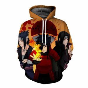 Naruto Anime Uchiha Clan Sasuke Madara Itachi Orange Hoodie