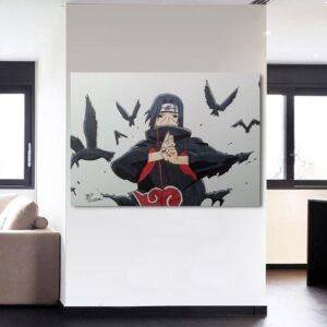 Naruto Anime Uchiha Itachi Jutsu Hand Sign White 1pc Canvas
