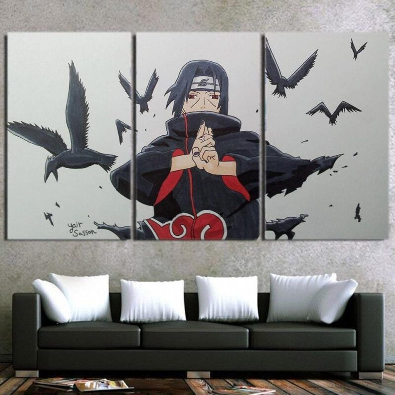 Naruto Anime Uchiha Itachi Jutsu Hand Sign White 3pcs Canvas