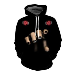 Naruto Creepy Scary Itachi Uchiha Sharingan 3D Black Hoodie