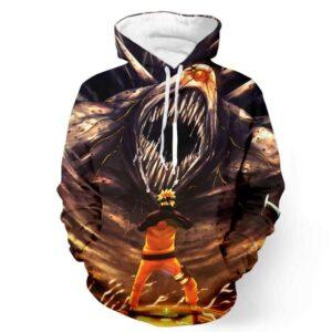Naruto Fight Angry Ten Tail Jubi Sharingan Teeth Cool Design Hoodie