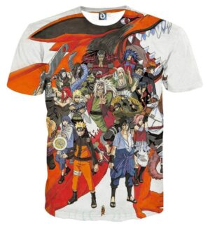 Naruto Japan Anime Cover All Characters Amazing Cool T-Shirt