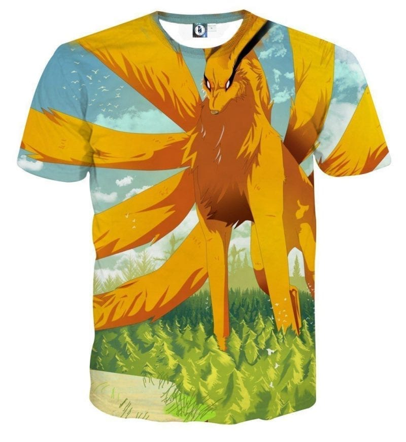 Naruto Kurama Nine Tails Fox Artwork Design Anime T-Shirt