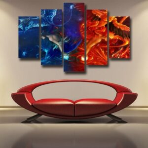 Naruto Orange Fire Phoenix Sasuke Blue Ice Drake 5pcs Canvas
