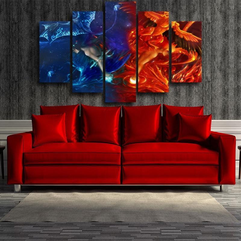 Naruto Orange Fire Phoenix Sasuke Blue Ice Drake 5pcs Canvas