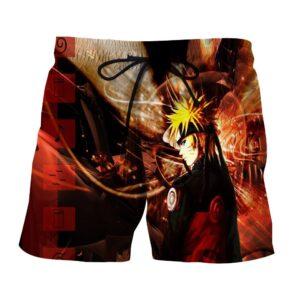 Naruto Shippuden Fan Art Fire Background Cool Design Shorts