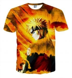 Naruto Shippuden Fan Art Fire Background Cool Orange T-Shirt