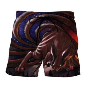 Naruto Shippuden Kurama Nine Tail Fox Fan Art Design Shorts