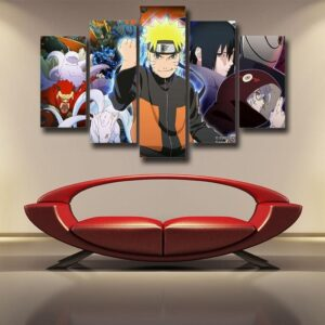 Naruto Shippuden Sasuke Fight Monster Cool Winter 5pcs Canvas
