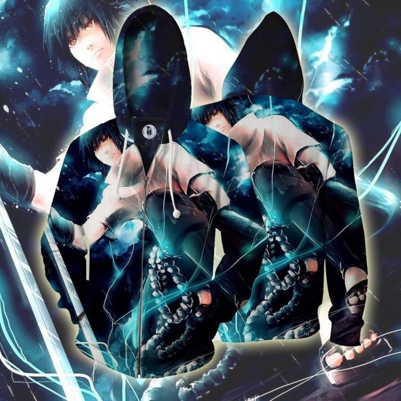 Naruto Shippuden Sasuke Lightning Katana Vibrant Zip Up Hoodie