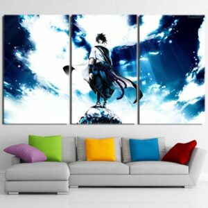 Naruto Shippuden Sasuke Uchiha Blue Sky 3pcs Wall Art Decor