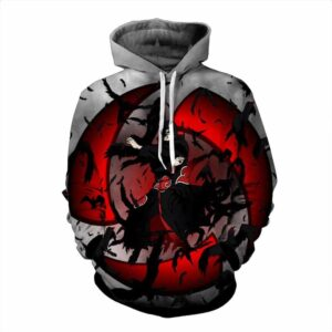 Naruto Uchiha Itachi Fearful Sharingan Black Crows Hoodie