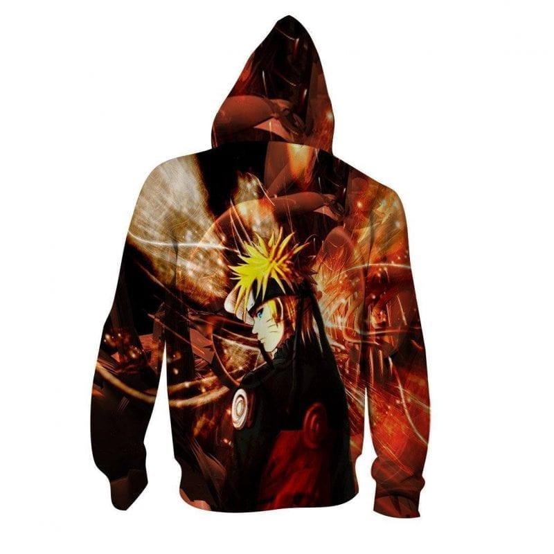 Naruto Uzumaki Cold Stare Swag Style Full Print Zip Up Hoodie