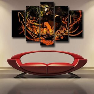 Naruto Uzumaki Kurama Sage Mode Black Orange 5pcs Wall Art