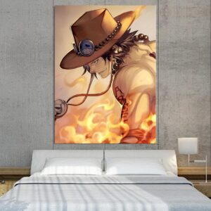 One Piece Ace Burning Flame Orange Portrait 1pc Canvas Print
