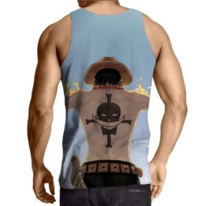One Piece Ace on Fire White Beard Tattoo Back Tank Top