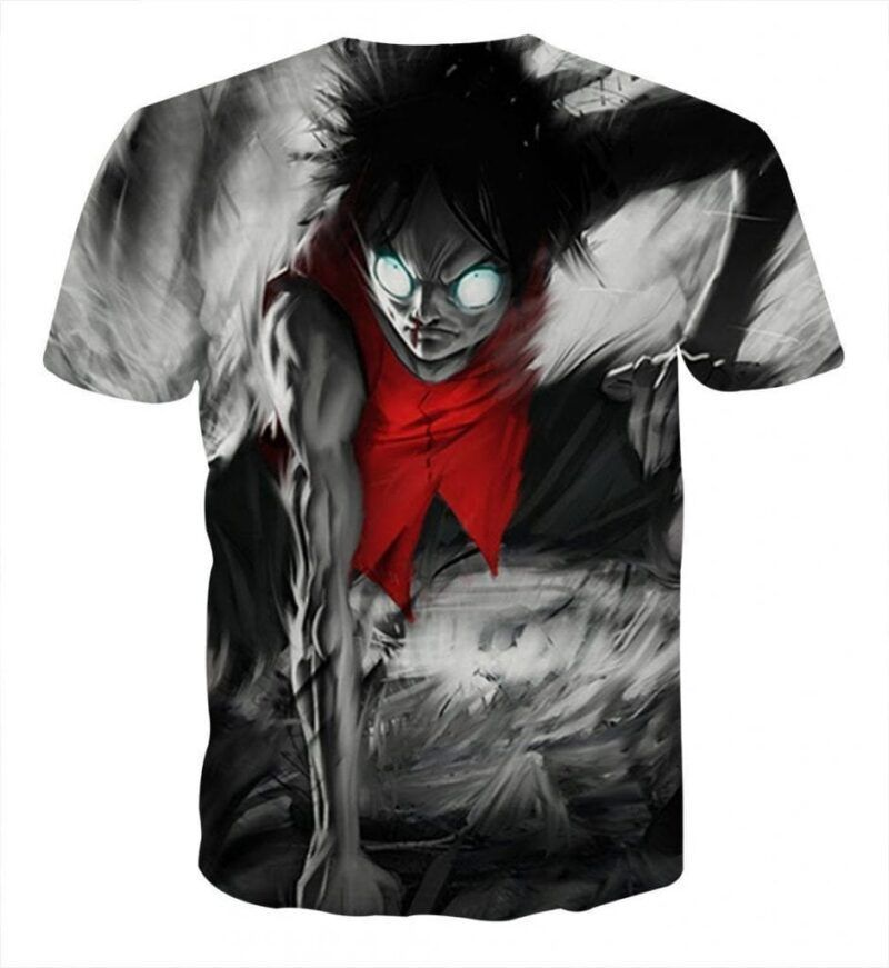 One Piece Aggressive Luffy Fighting Powerful Style T-shirt