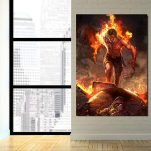 One Piece Angry Realistic Ace Fire Fist Revenge 1pc Wall Art