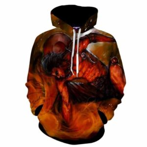 One Piece Anime Aggressive Ace Fire Fist Burning Hoodie