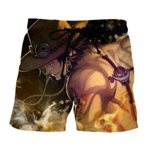 One Piece Awesome Ace Fire Fist Burning Around Boardshorts