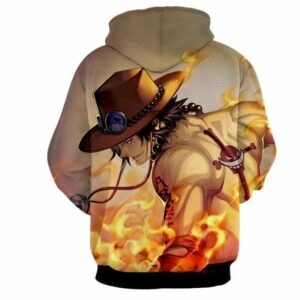 One Piece Awesome Ace Fire Fist Burning Around Hoodie