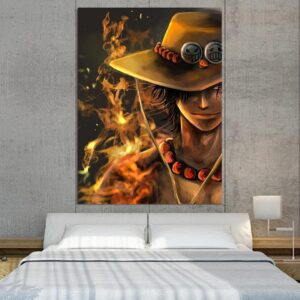 One Piece Blazing Fire Fist Ace Pirate Yellow 1pc Wall Art