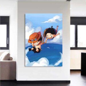 One Piece Chibi Luffy And Ace Jumps In The Ocean 1pc Canvas