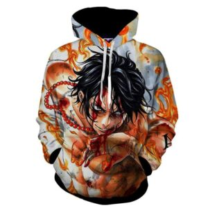 One Piece Cool Bloody Ace Fire Fist Burning Body Hoodie